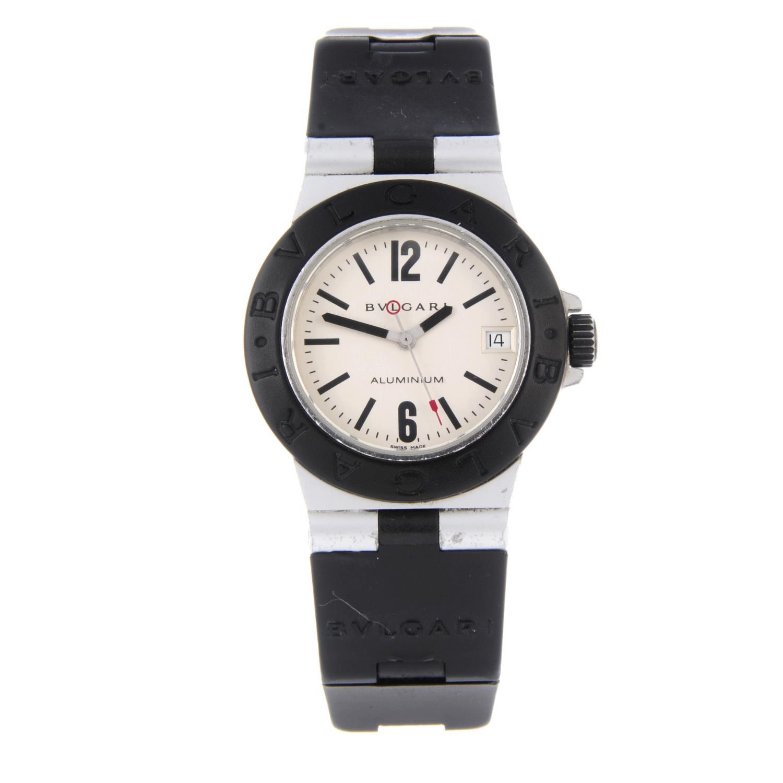 BULGARI - a mid-size Diagono Aluminium wrist watch.