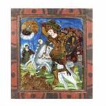 """Saint George Killing the Dragon"", painted frame, attributed to the Morar painters, Săliștea, Sibi"