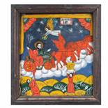 """""""The Ascension of the Holy Prophet Elijah"""", icon on glass, stained frame, attributed to a painter fr"""