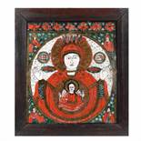 """""""Mother of God of the Sign"""", icon on glass, stained frame, Țara Bârsei workshop, late 19th century"""