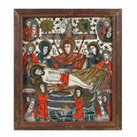 """""""The Lamentation of Jesus"""", icon on glass, stained frame, Țara Bârsei workshop, mid-19th century"""