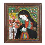 """""""Bereaved Virgin Mary"""", icon on glass, painted frame, attributed to painter Petru Tămaș-father,"""