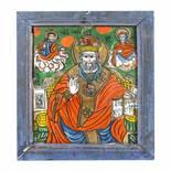 """Saint Nicholas"", icon on glass, painted frame, Șcheii Brașovului workshop, late 19th century"