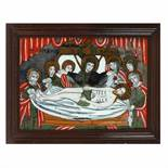 """The Lamentation of Jesus"", icon on glass, stained frame, Țara Făgărașului workshop, approx. 186"