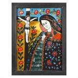 """""""Bereaved Virgin Mary"""", icon on glass, attributed to painter Maria Chifor 2, early 20th century"""