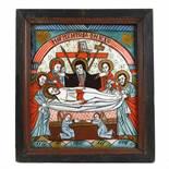 """The Lamentation of Jesus"", icon on glass, stained frame, Grecu workshop, Săsăuș, mid-19th centur"