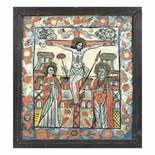 """""""The Crucifixion of the Lord"""", icon on glass, Nicula workshop, stained frame, 19th century"""
