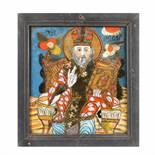 """Saint Nicholas Enthroned"", icon on glass, Țara Bârsei workshop, late 19th century"