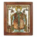 """""""Saint Nicholas the Miracle-Worker Enthroned"""", icon on glass, attributed to painter Matei Țâmforea"""