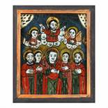"""""""The Ascension of Jesus"""", icon on glass, painted frame, Nicula workshop, late 19th century"""