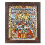 """""""Last Supper"""", icon on glass, stained frame, decorated with comb, Șcheii Brașovului workshop, late"""