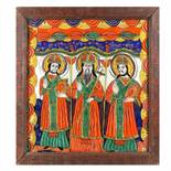 """""""Nativity"""", icon on glass, stained frame, attributed to a painter from Opruș / Oprușanu family fro"""