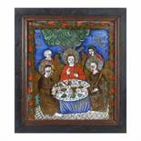 """""""Holy Trinity"""" (Mamvri Dinner), icon on glass, stained frame, attributed to a painter from Tămaș f"""