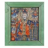 """Saint Nicholas"", icon on glass, painted frame, attributed to painter Nicolae Oancea din Vale, Mărg"