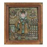 """""""Saint Nicholas"""", icon on glass, stained frame, attributed to painter Nicolae Oancea din Vale, mid-1"""