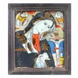 """Bereaved Virgin Mary"", icon on glass, attributed to painter Petru Prodan, Maieri, Alba Iulia, appro"