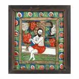 """""""Jesus the True Vine"""", icon on glass, stained frame, Șcheii Brașovului workshop, the first decades"""