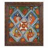"""""""The Table of Heaven"""", icon on glass, stained frame, decorated with comb, Șcheii Brașovului worksh"""