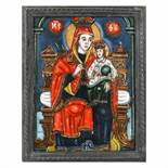 """""""Virgin Mary and the Baby - The Unfaded Rose"""", icon on glass, stained frame, attributed to painter P"""