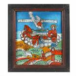 """""""The Ascension of the Holy Prophet Elijah and scenes from his life"""", icon on glass, stained frame,"""
