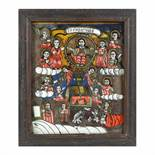 """""""The Last Judgment"""", icon on glass, stained frame, Nicula workshop, mid-19th century"""