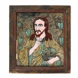 """""""Jesus Pantocrator"""", icon on glass, painted frame, attributed to painter Nicolae Oancea din Vale,"""