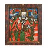 """""""Saint Nicholas the Miracle-Worker Enthroned"""", icon on glass, painted frame, attributed to painter I"""