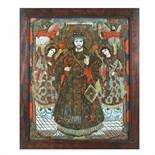 """Jesus Christ Emperor and High Bishop, Flanked by Archangels"", icon on glass, Țara Bârsei workshop"