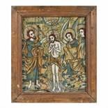 """God's Christening"", icon on glass, attributed to painter Nicolae Oancea din Vale, Mărginimea Sibiu"