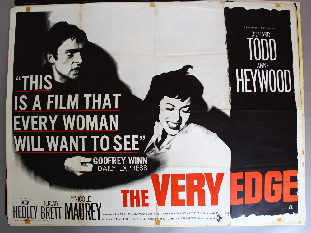 Lot 1003 - Eight British Quads to include The Very Edge (1962) original quad starring Richard Todd,