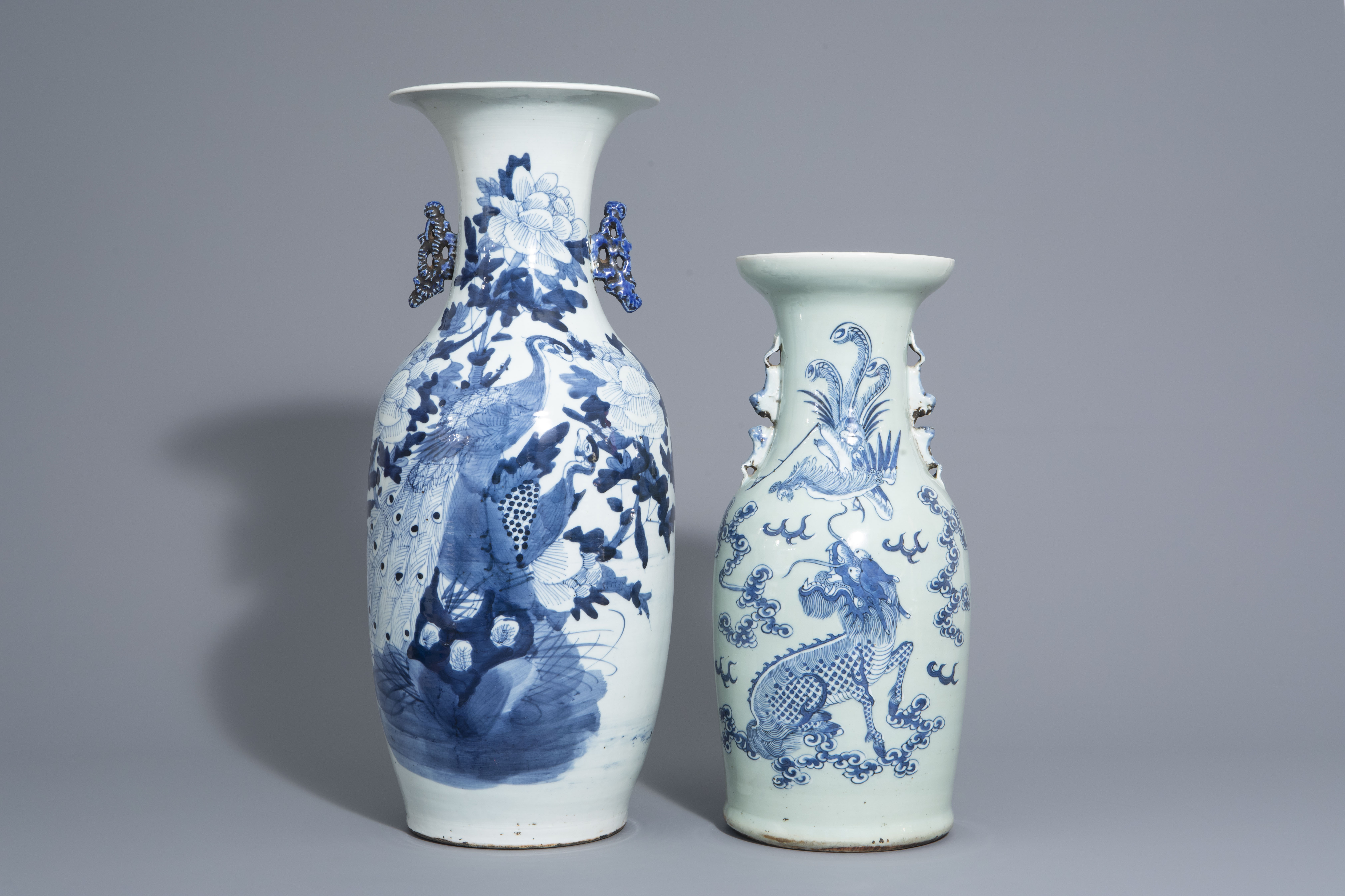 Two Chinese blue and white vases with mythological animals, 19th C. - Image 2 of 7