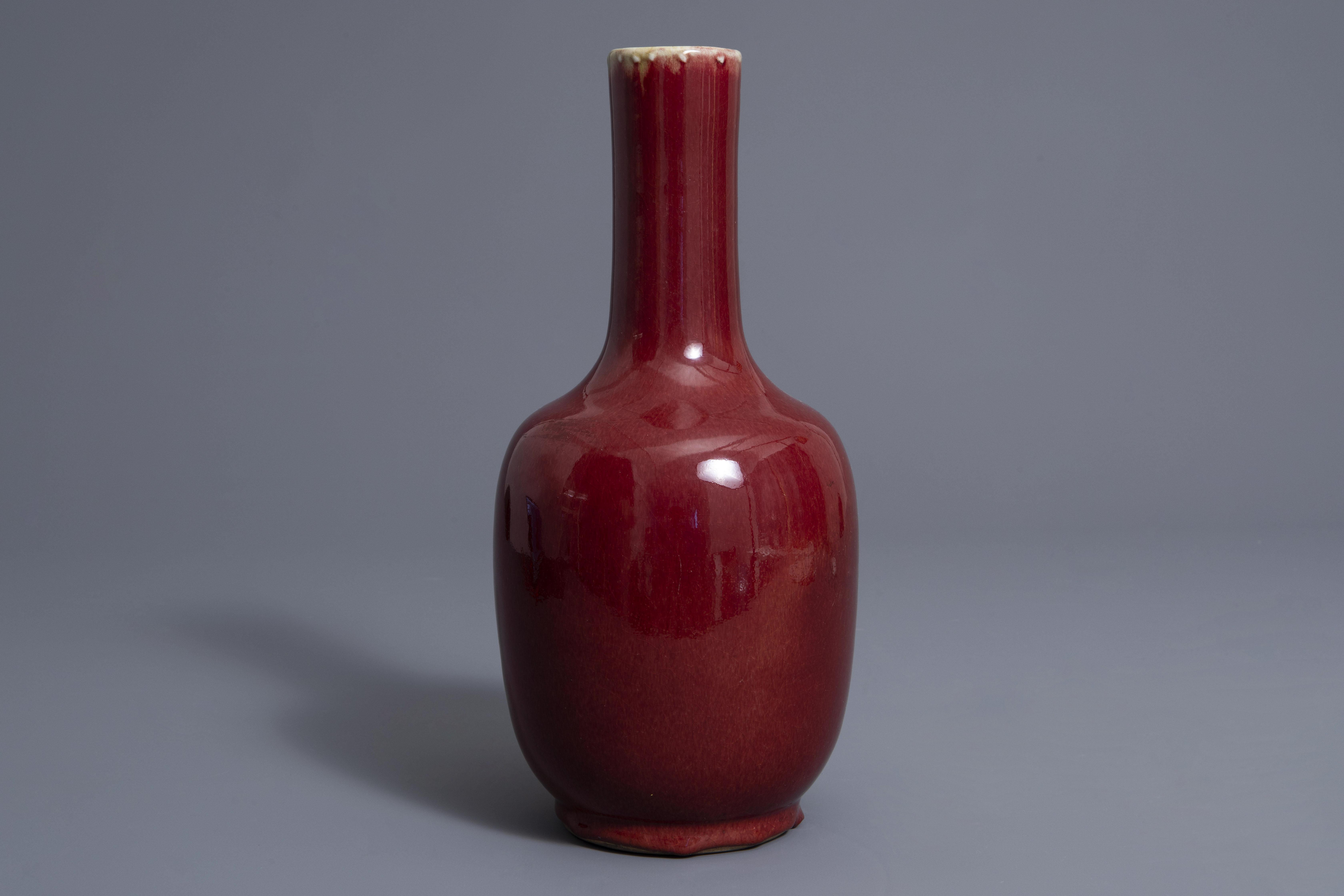 A Chinese sang de boeuf glazed bottle vase, Kangxi mark, 19th C. - Image 4 of 7