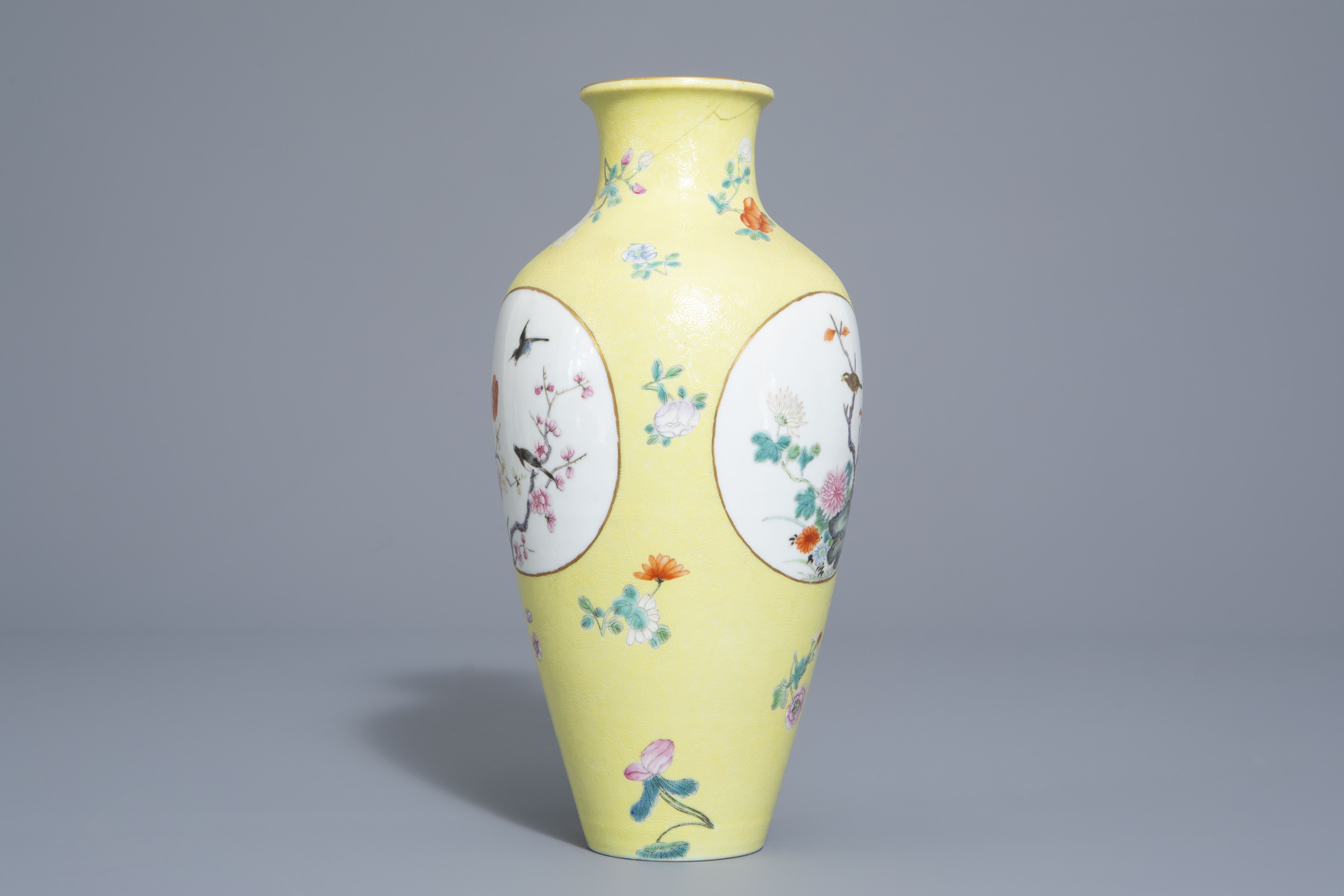 A pair of Chinese famille rose plates and a yellow ground sgraffito vase, Jurentang mark, Republic - Image 7 of 9