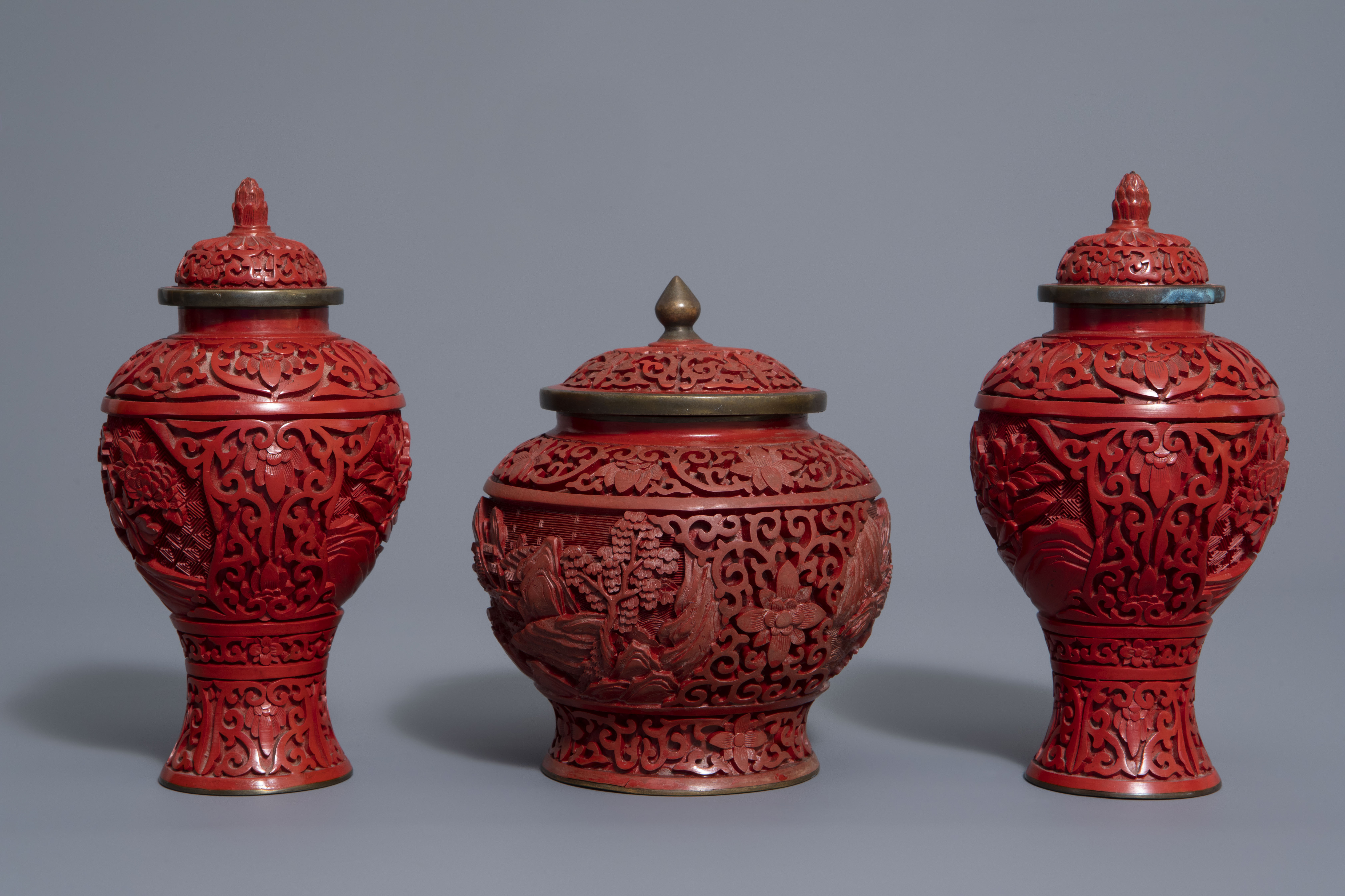 A Chinese tea block, cloisonné teapot, wall vase, bamboo brush pot & 3 red lacquer vases, 20th C. - Image 5 of 16