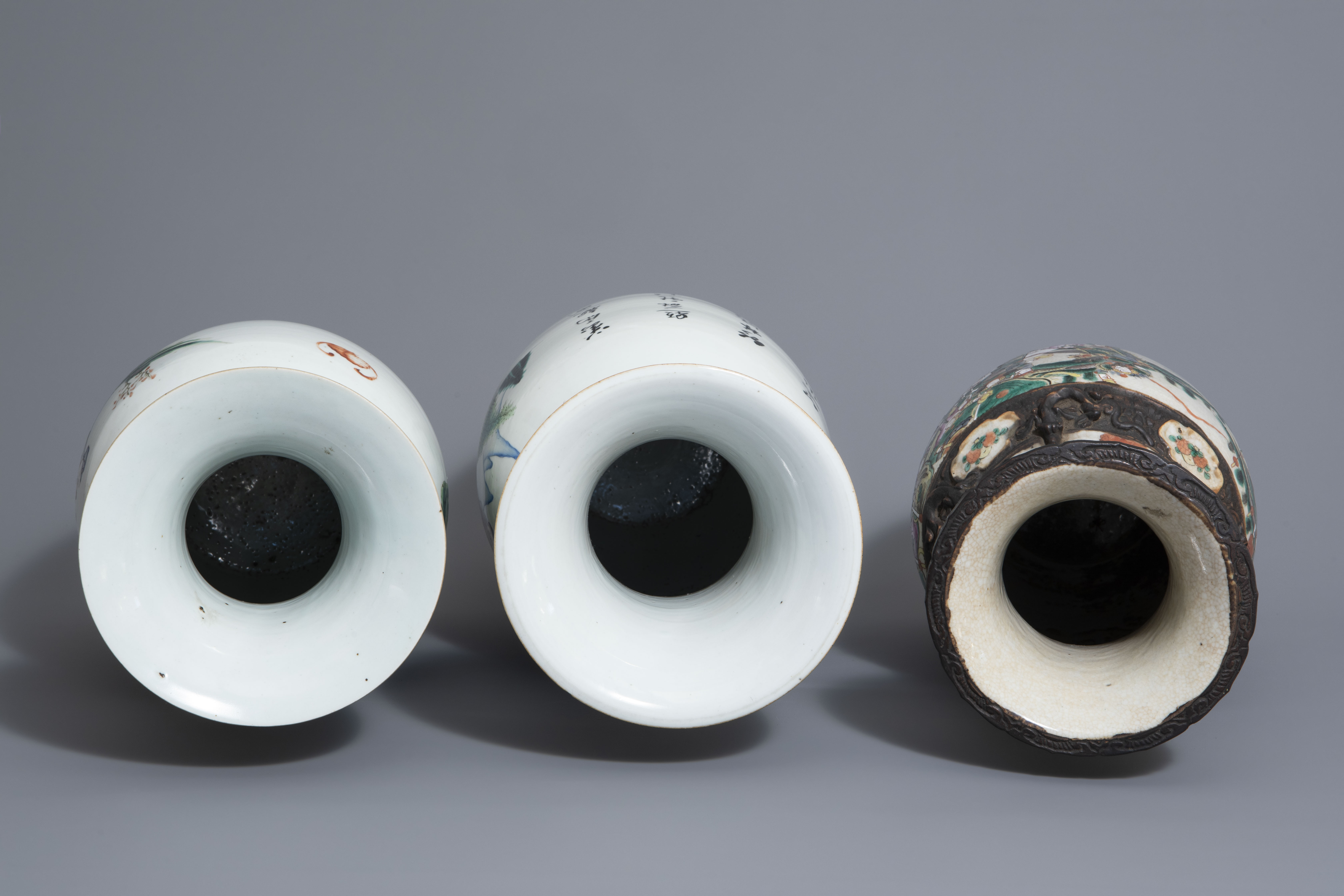 Three Chinese famille rose and Nanking crackle glazed vases, 19th C. - Image 6 of 7