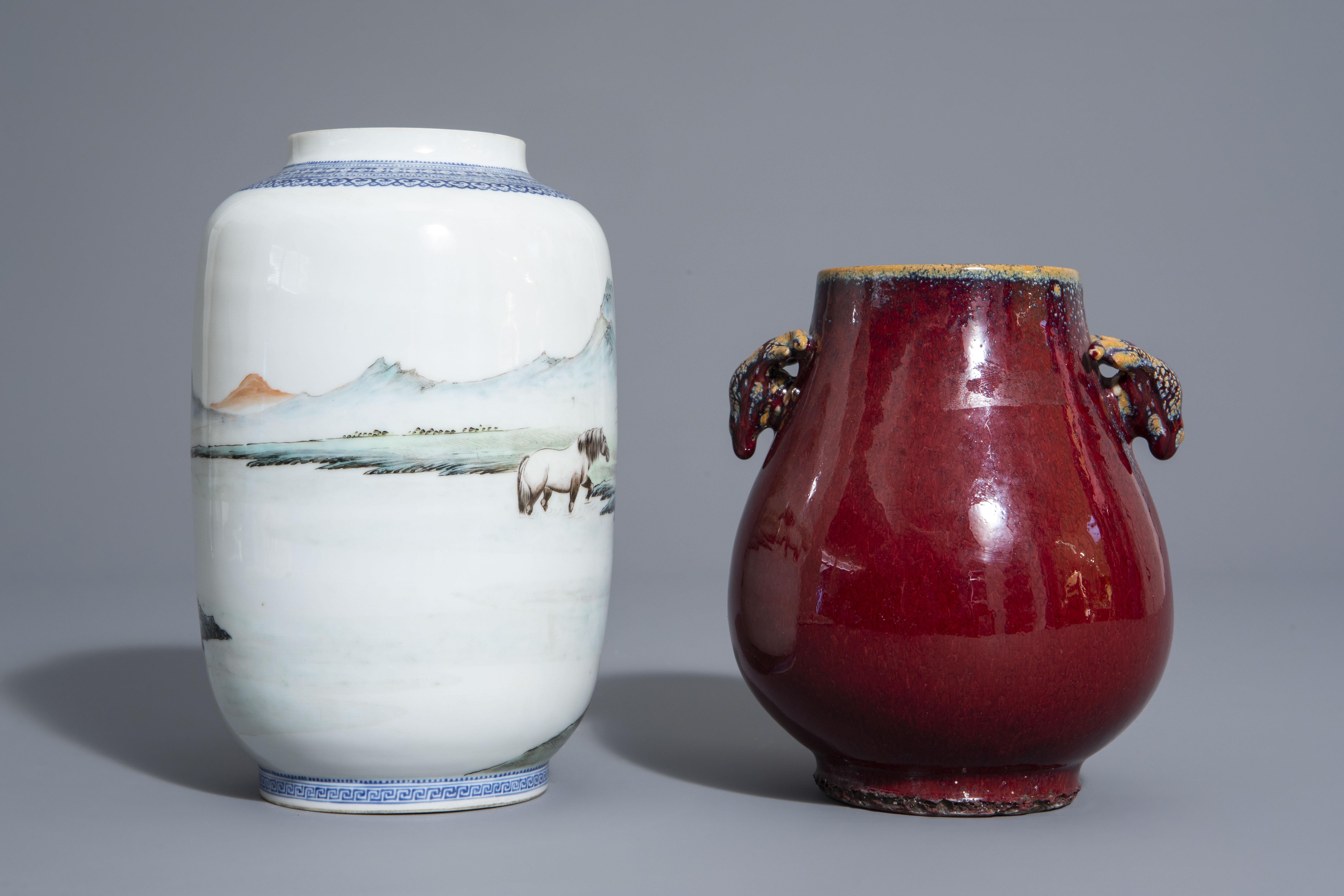 A Chinese famille rose eggshell 'Horses of Mu Wang' vase and a flambŽ glazed hu vase, 20th C. - Image 4 of 7