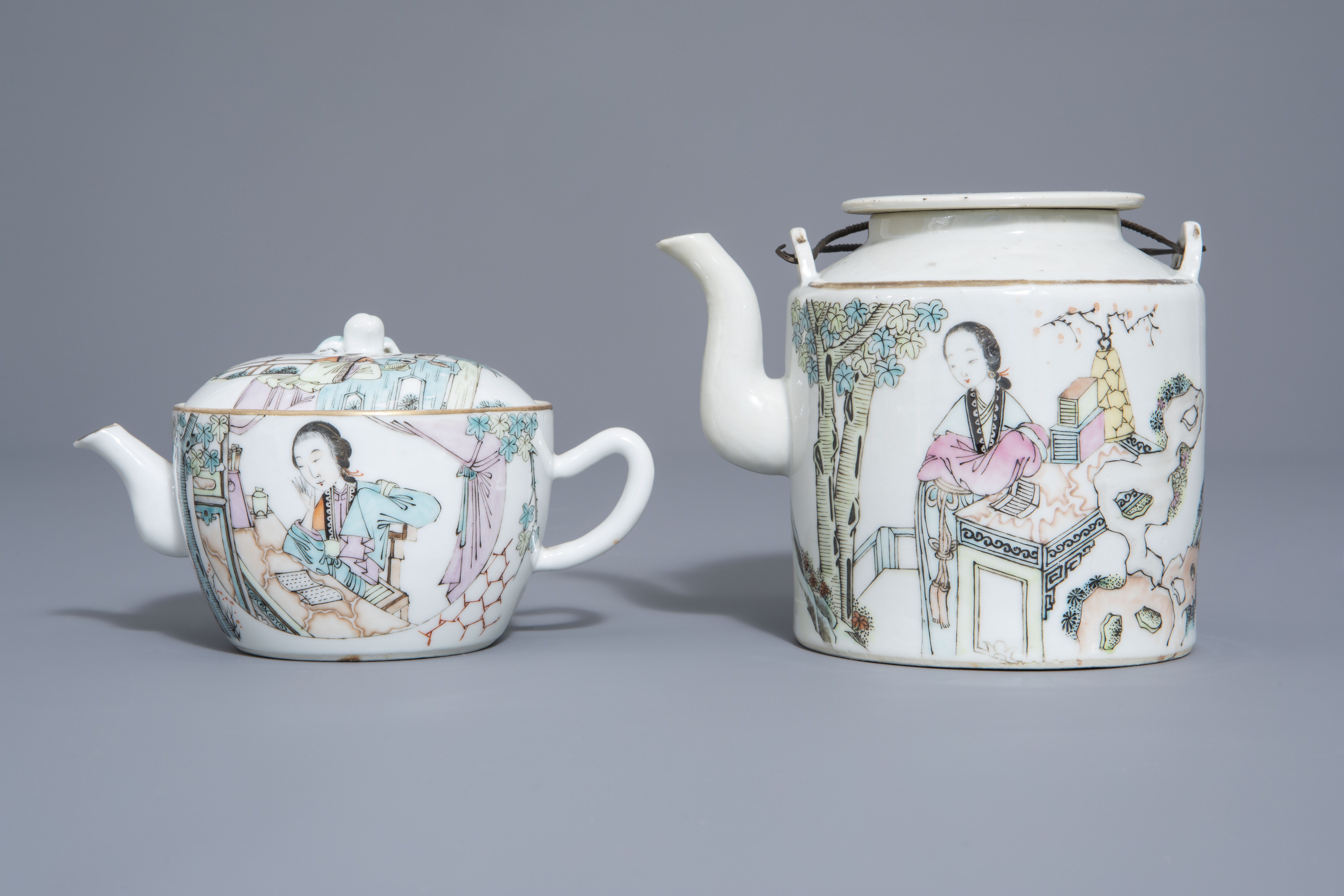 A Chinese seven-piece qianjiang cai tea service with figurative design, 19th/20th C. - Image 2 of 19