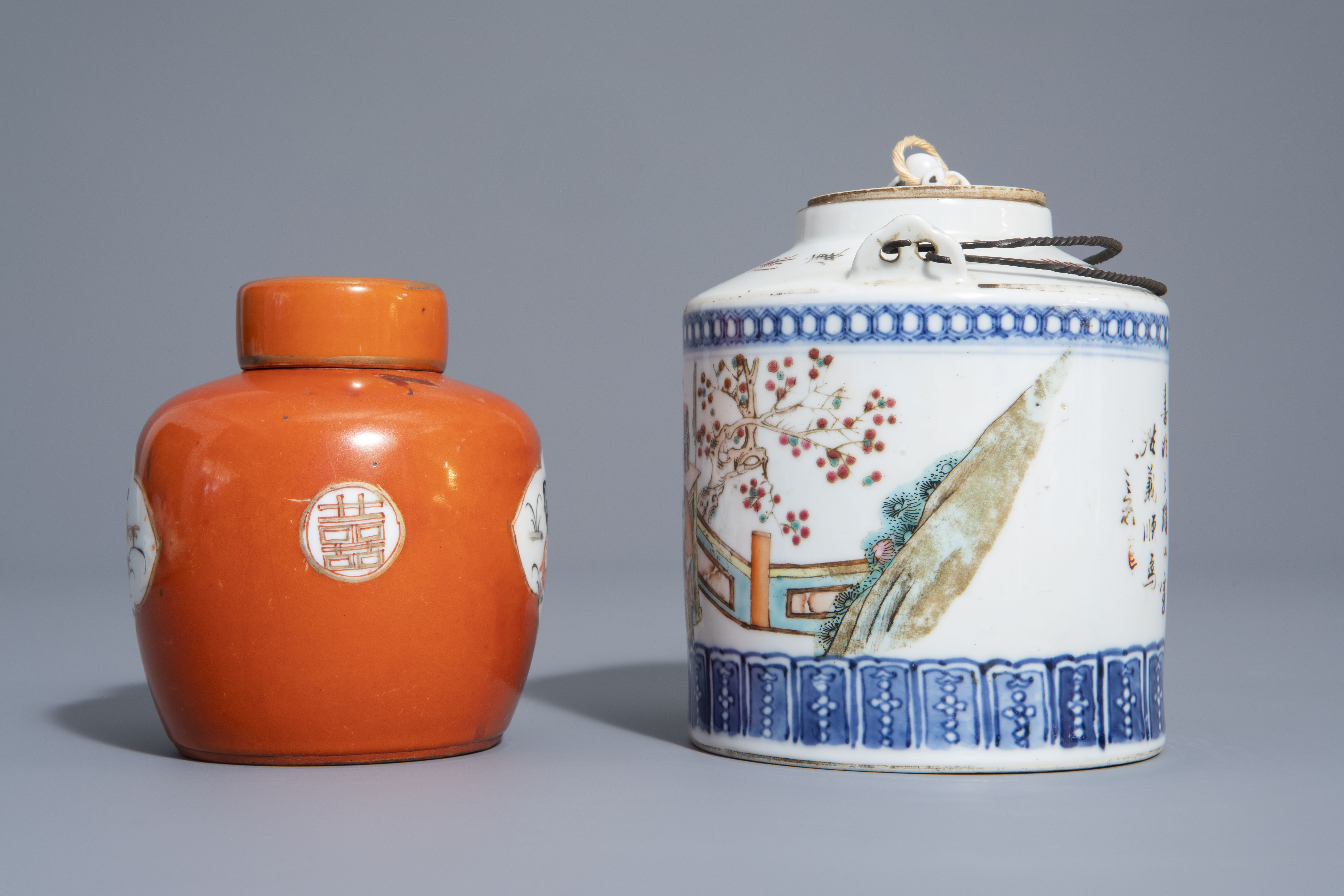 A varied collection of Chinese qianjiang cai and famille rose porcelain, 19th/20th C. - Image 9 of 11