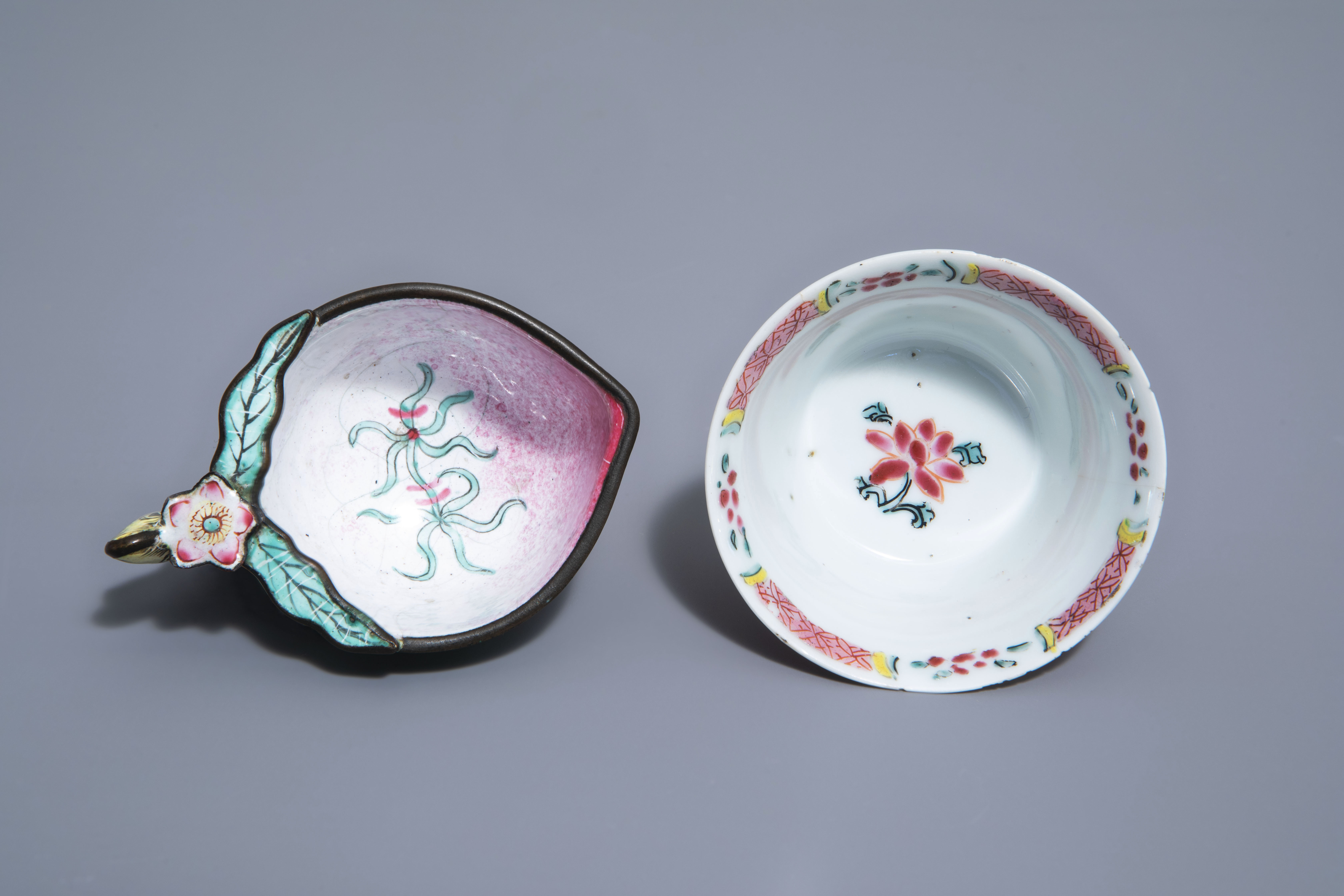 A Chinese famille rose cup and saucer and a Canton enamel peach shaped cup, Yongzheng/Qianlong - Image 8 of 9