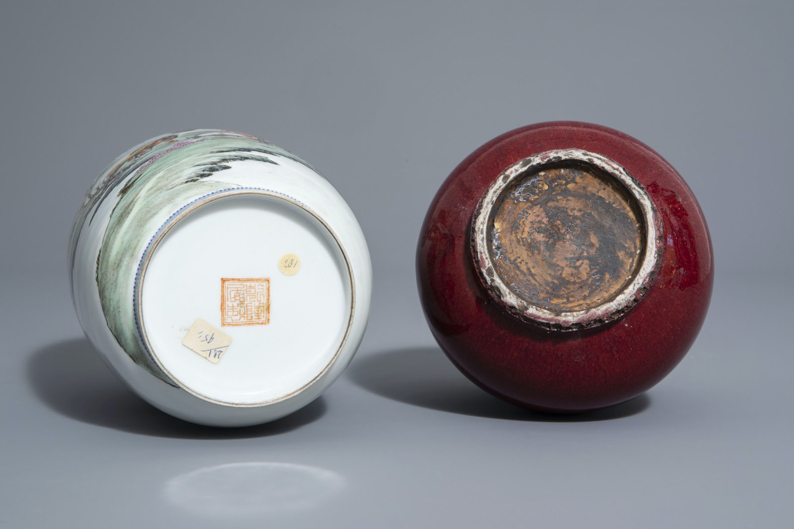 A Chinese famille rose eggshell 'Horses of Mu Wang' vase and a flambŽ glazed hu vase, 20th C. - Image 7 of 7