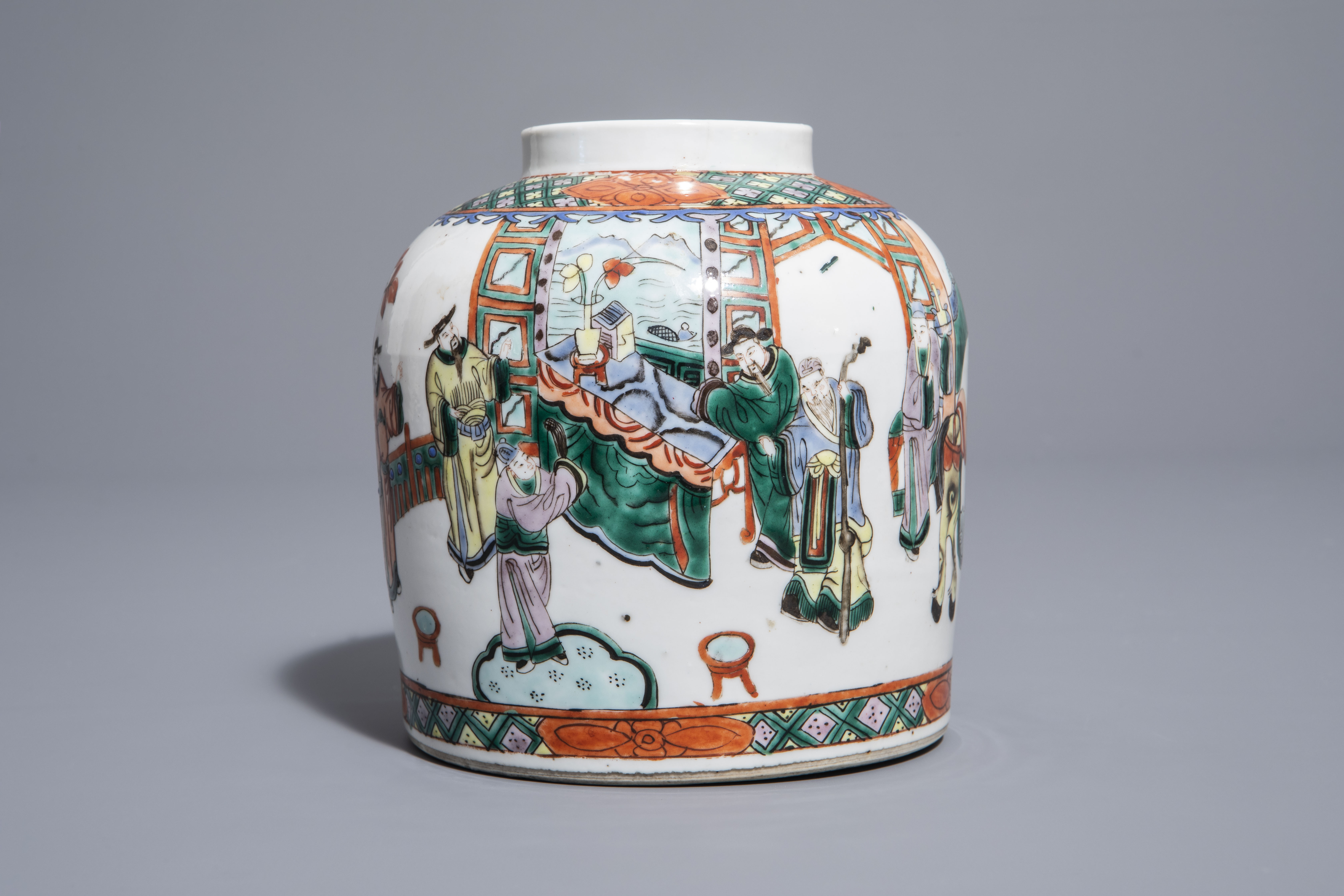 A pair of Chinese Canton famille rose vases mounted as lamps and a famille verte jar, 19th C. - Image 8 of 13