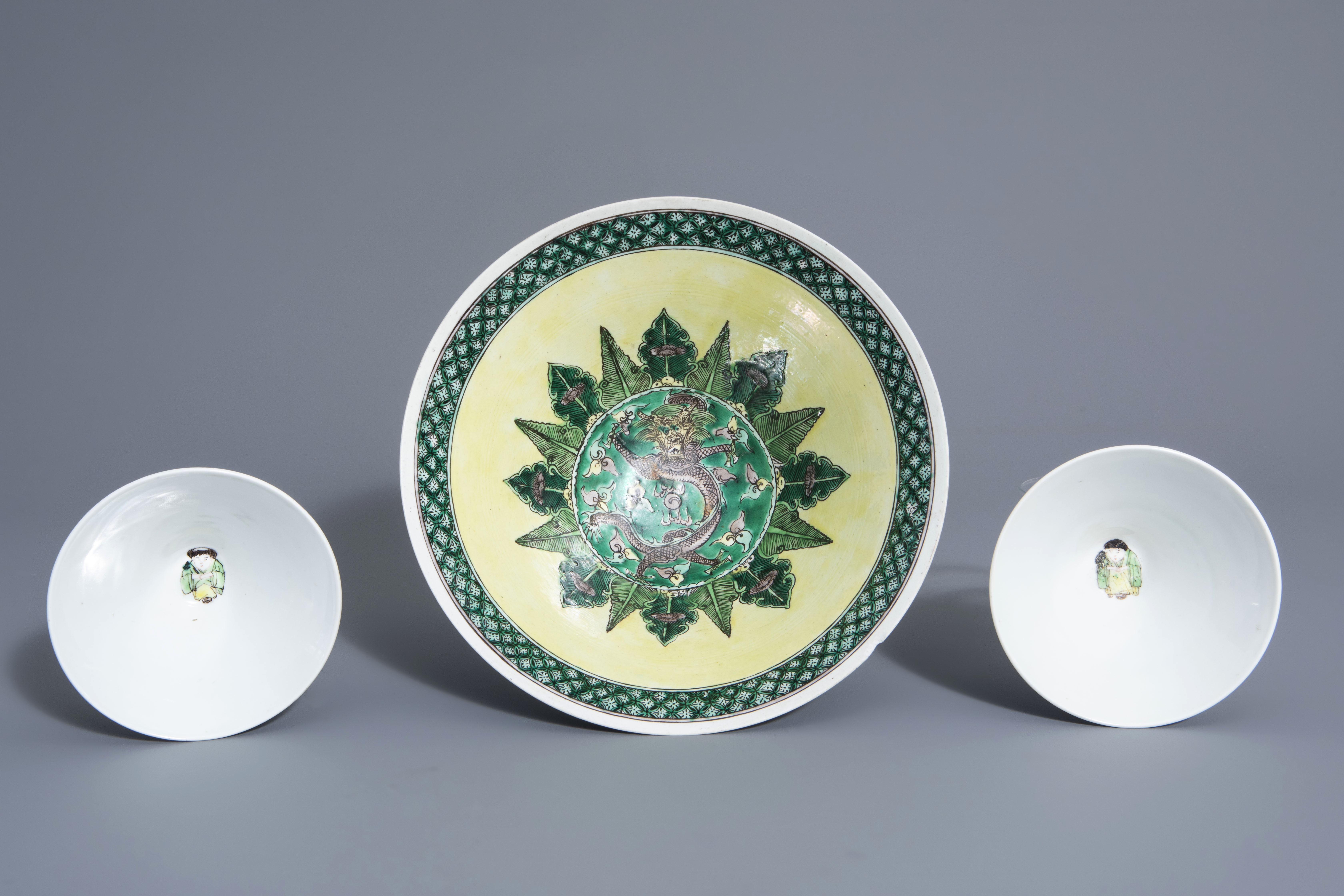 Three Chinese verte biscuit bowls with figurative design, Republic, 20th C. - Image 6 of 7
