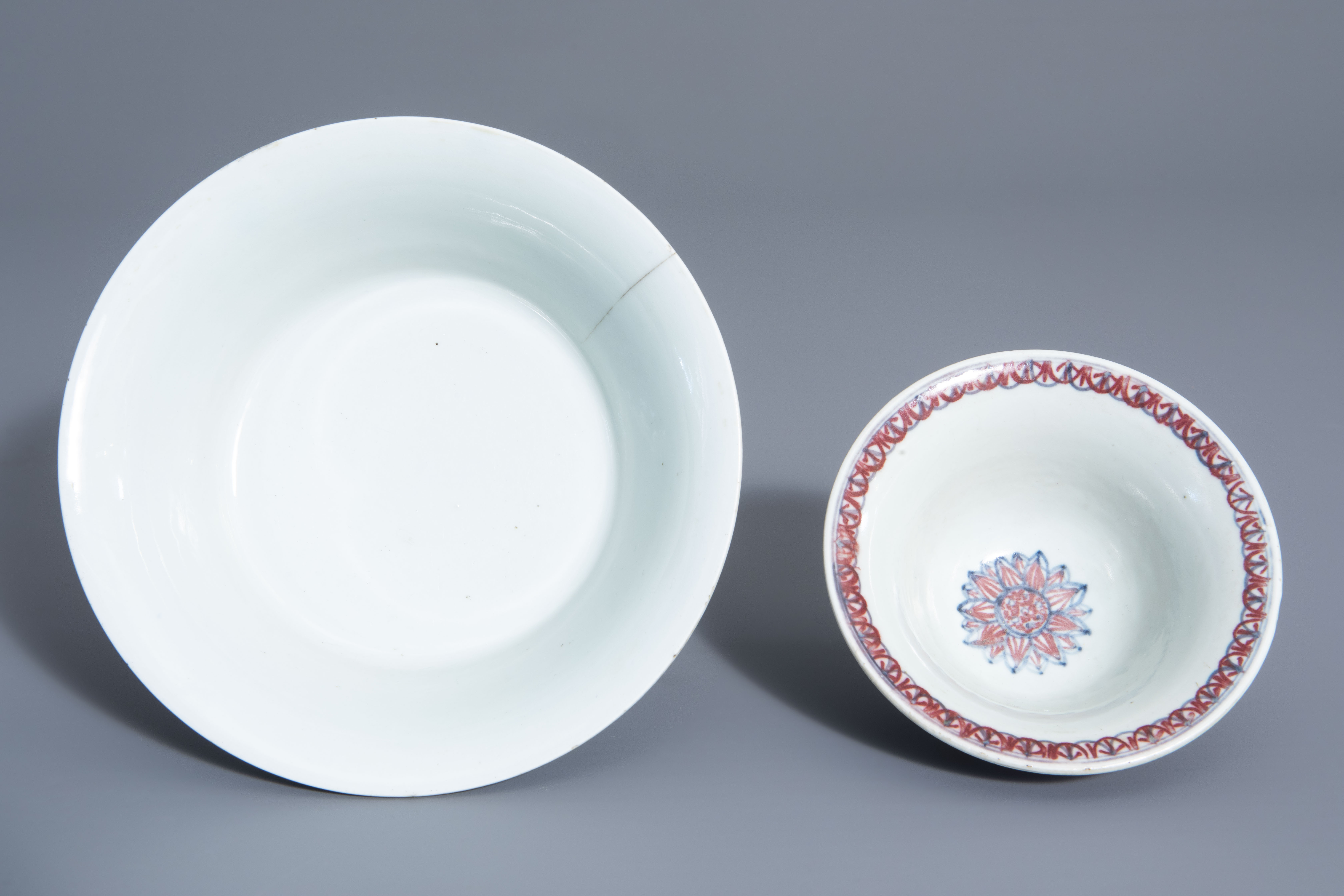 Two Chinese blue, white and copper red bowls, Kangxi mark, 19th/20th C. - Image 6 of 7