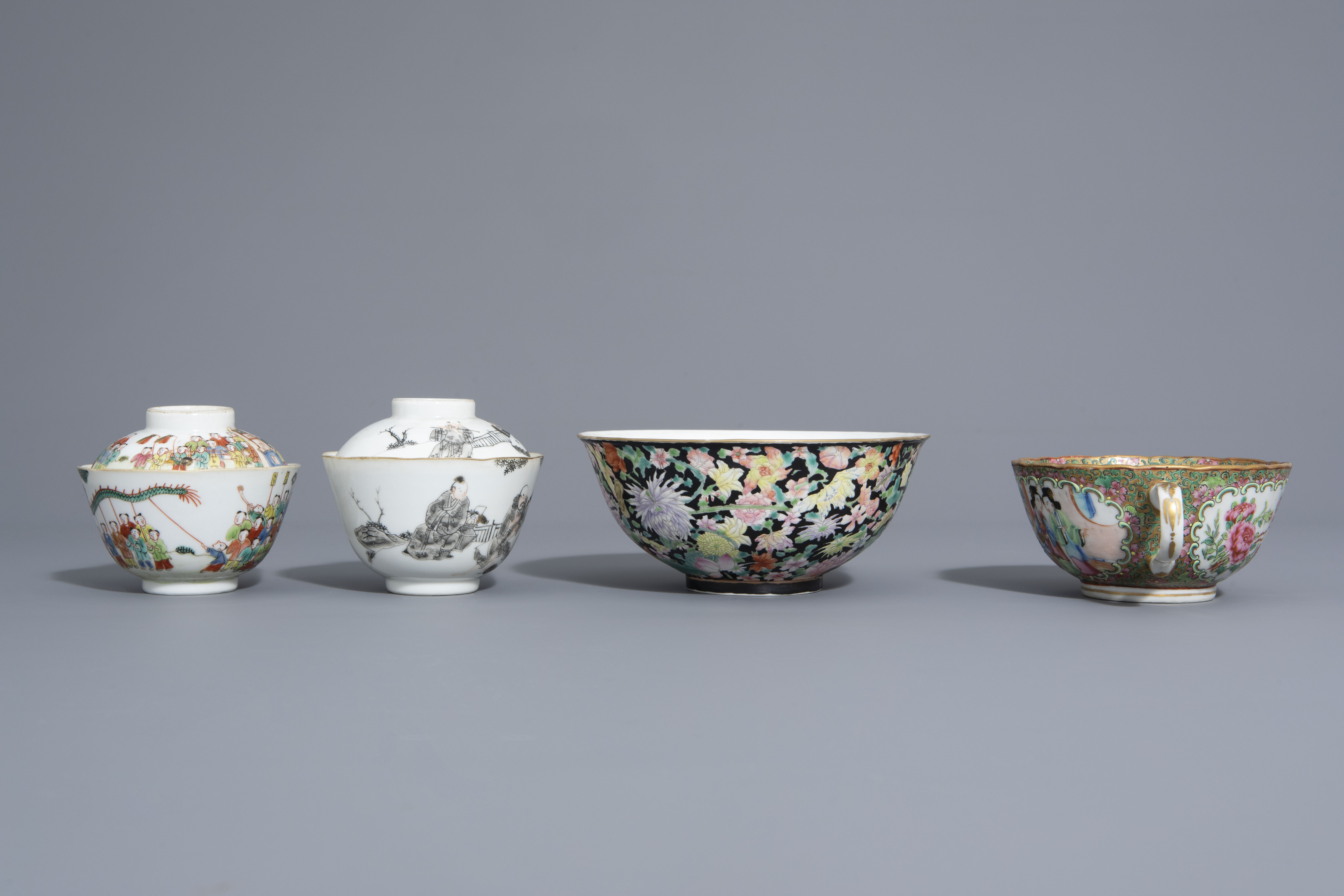 Three Chinese famille rose and grisaille bowls and a Canton bowl on stand, 19th/20th C. - Image 3 of 9
