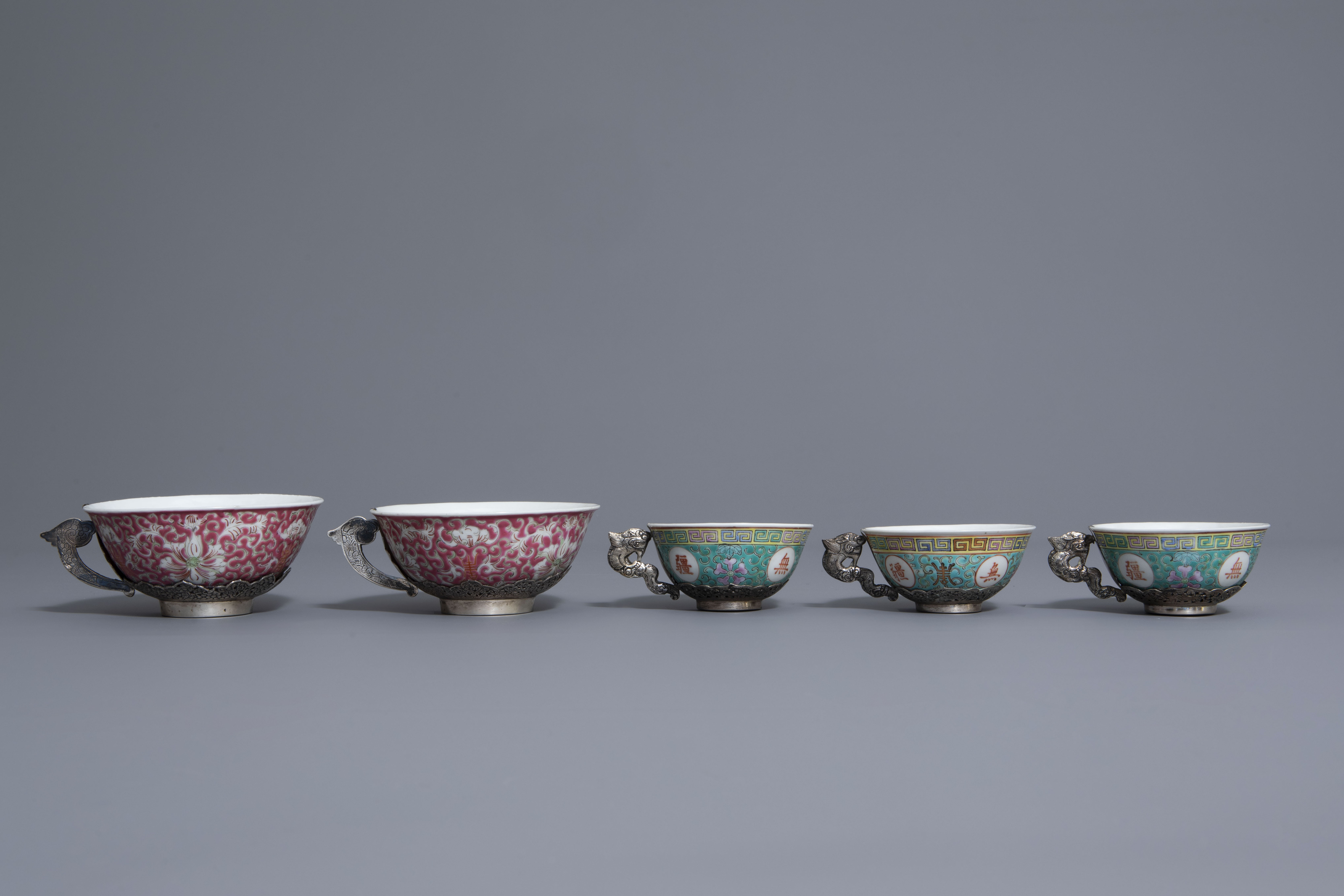 Five Chinese famille rose and silver cups and saucers and a bowl, 19th/20th C. - Image 4 of 17