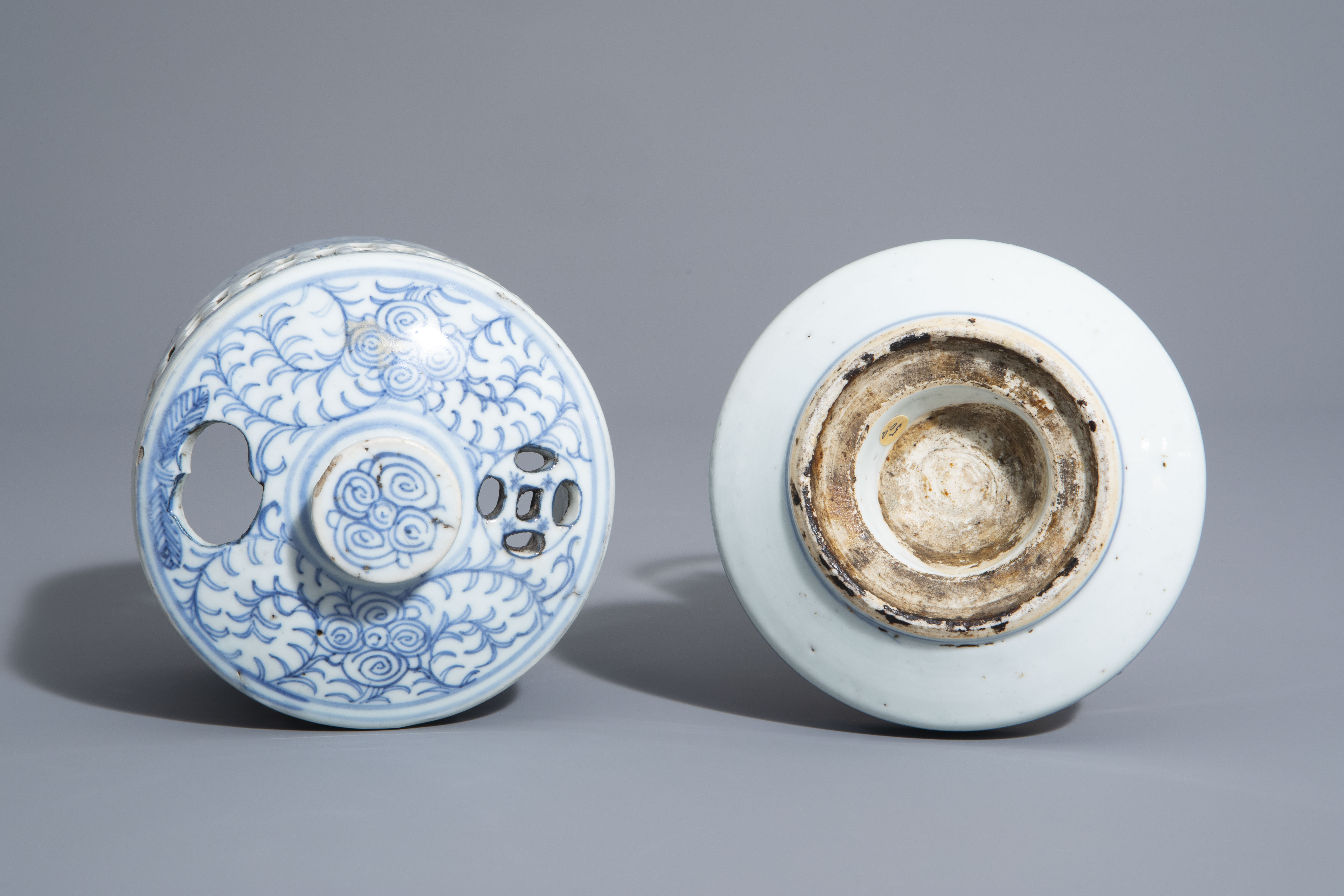 A Chinese blue and white charger and a Peranakan or Straits market night light, Kangxi and 19th C. - Image 9 of 9