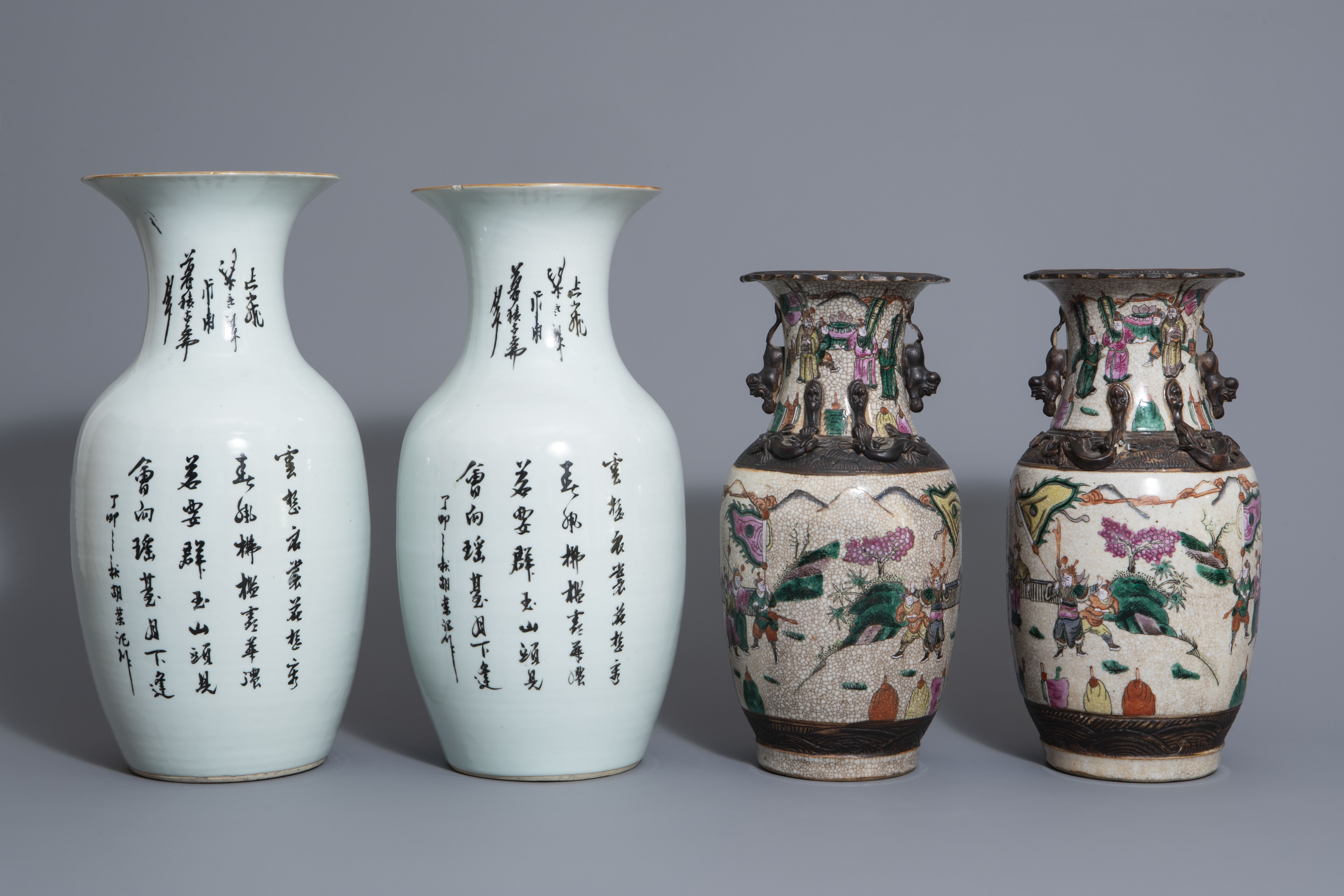 Two pairs of Chinese famille rose and Nanking crackle glazed vases, 19th/20th C. - Image 4 of 7