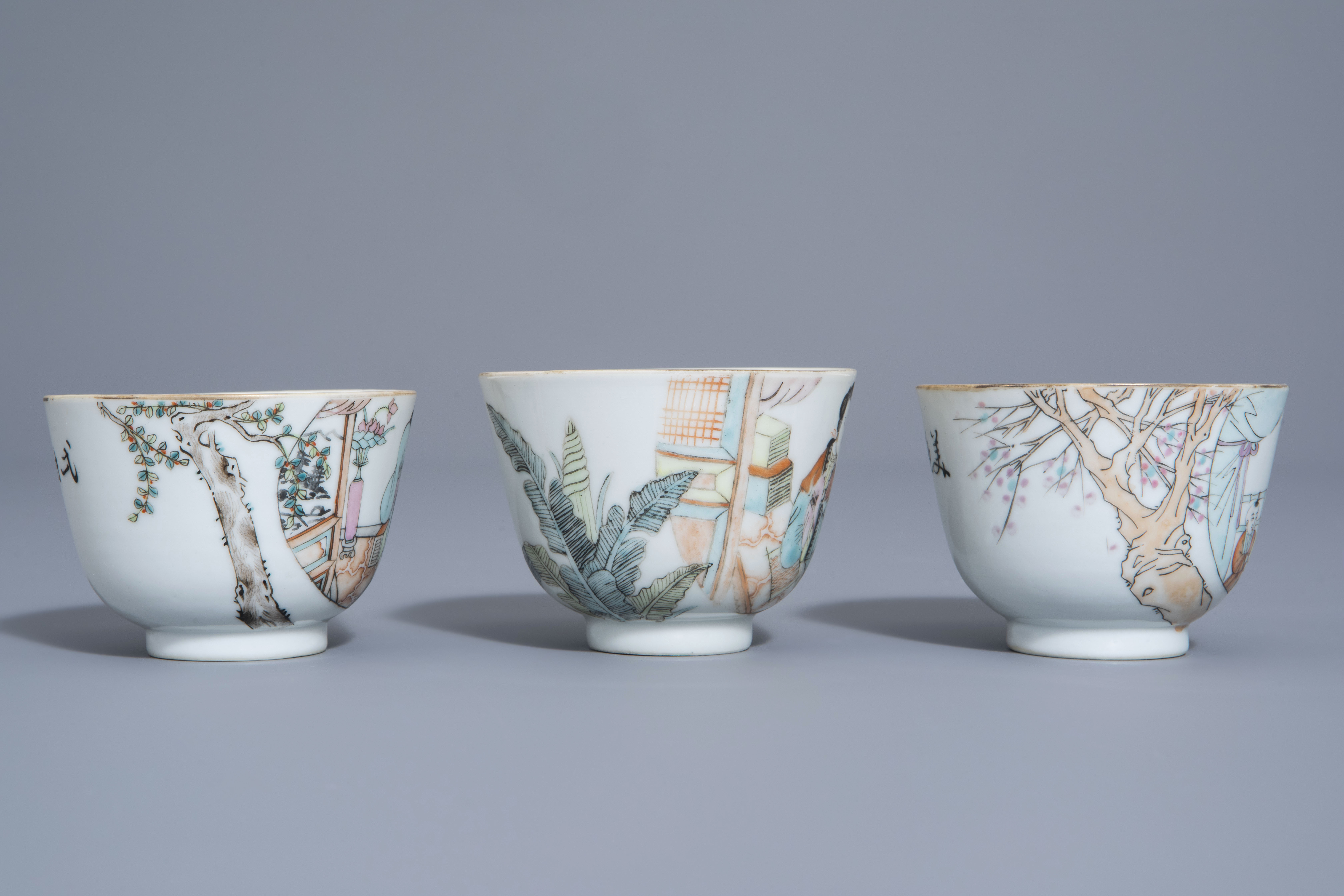 A Chinese seven-piece qianjiang cai tea service with figurative design, 19th/20th C. - Image 15 of 19