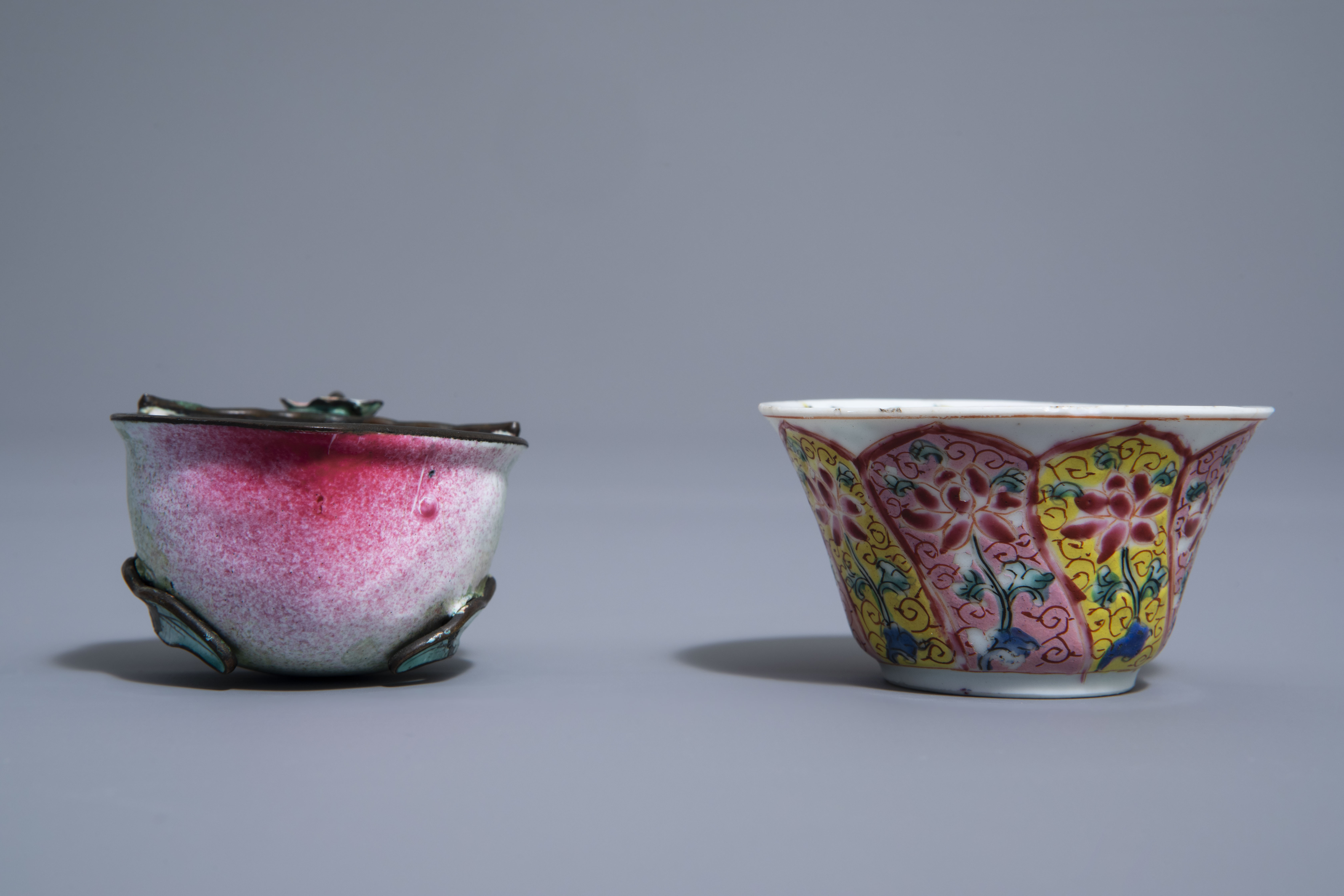 A Chinese famille rose cup and saucer and a Canton enamel peach shaped cup, Yongzheng/Qianlong - Image 7 of 9
