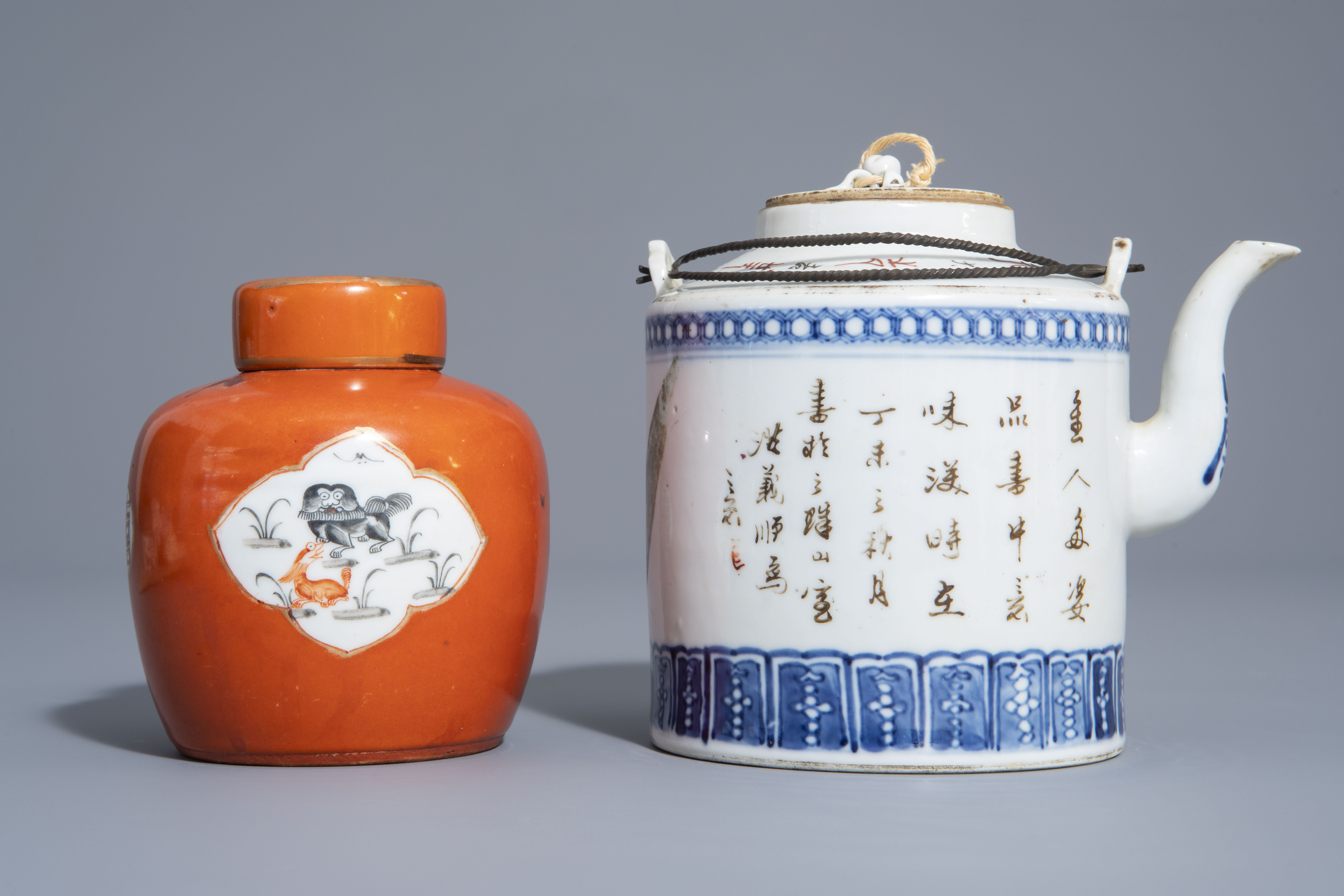 A varied collection of Chinese qianjiang cai and famille rose porcelain, 19th/20th C. - Image 8 of 11